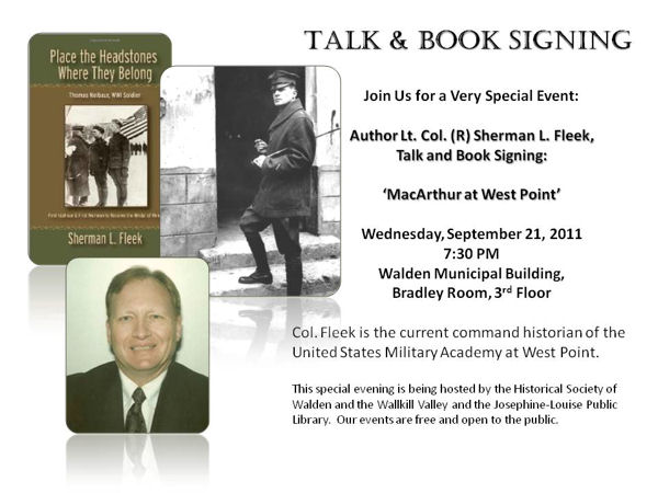 Lt. Col. (R) Sherman Fleek to speak on Gen MacArthur at West Point Today, Sept. 21, 2011